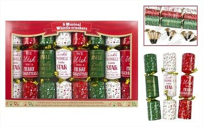 Pack Of 8 Musical Whistle Family Christmas Crackers Red & Green With Music Sheet