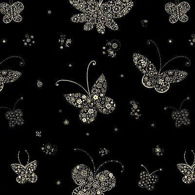 Cream Butterfly Print Cellophane Roll 80cm x 100m Gift Wrap
