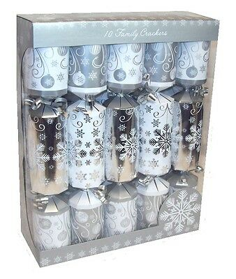 Pack Of 10 Family Christmas Crackers 30cm x 5cm  Foiled Silver & White Snowflake