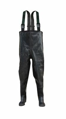 Black RUBBER Fishing Chest Waders rubbers wader 4,5 - 12 UK , 39 - 47 EU