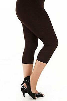 Ladies 3/4 Cropped cotton Leggings WITH AND WITHOUT Lace TRIM  size SMALL to XL