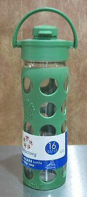 New Green Lifefactory Reusable 16 oz Glass Water Bottle with Flip Cap