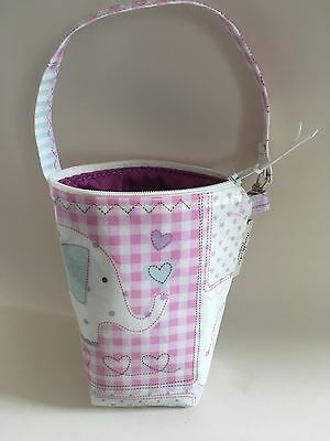 Insulated baby bottle bag,Thermal baby bottle Warmer In pink elephant oilcloth