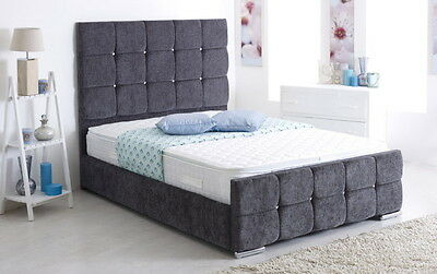 Monoco chenille Bed Frame storage 3' Single 4'6 Double 5' King size