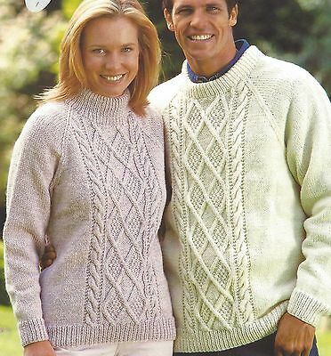 Aran Sweater Knitting Pattern Ladies And Mens With Diamond Cable 30