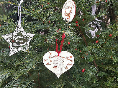 Wooden or acrylic Christmas personalised bauble decoration  tree ornament star