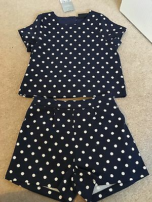 Girls Next Navy Spotty Shorts Top Outfit Age 5 4-5 Years New Christmas Party
