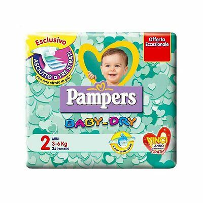 Pampers Baby Dry MISURA 2 (3-6 kg) 6 pacchi 144 pannolini