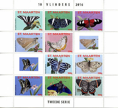 St Maarten 2016 MNH Butterflies 10v M/S II Vlinders Insects Butterfly Stamps
