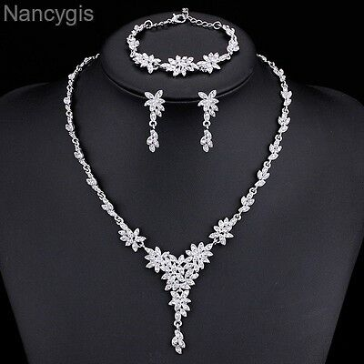 Silver Plated Crystal Leaves Necklace Bracelet Earrings Wedding Jewellery Set