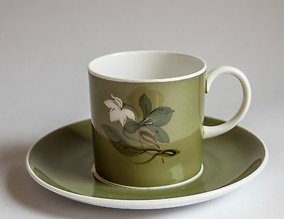 Susie Cooper Coffee Cup & Saucer Duo(s) Olive Green, White lilly