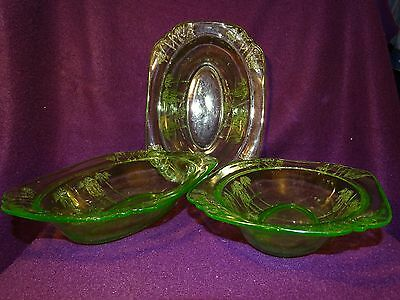 3 Parrot Pattern Green Depression Glass Bowls By Federal Glass CA.1931-32 Glows