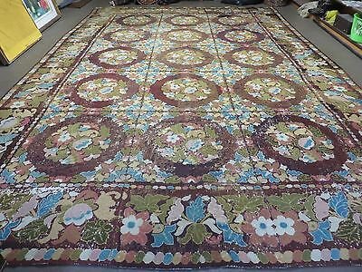 11' X 16' Antique Hand Made English Needlepoint Wool Rug 19th Century Nice