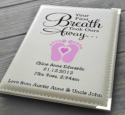 "Personalised 7x5"" x 36 photo album, memory book, Auntie Uncle baby Girl birthday"