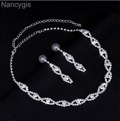 Silver Twist Crystal Necklace and Earrings Party Bridal Wedding Jewellery Set
