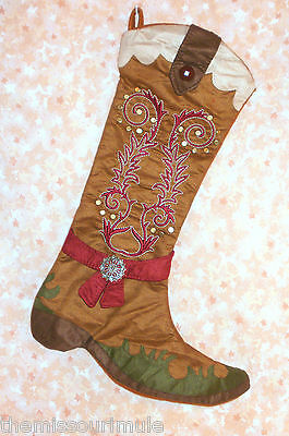 NEW~Cowboy Boot Christmas Stocking Embroidery Snowflake Trim Cowgirl Western