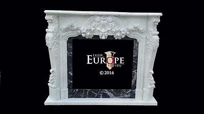Beautiful Hand Carved French Design Fireplace Mantel With Flowers - Js4789