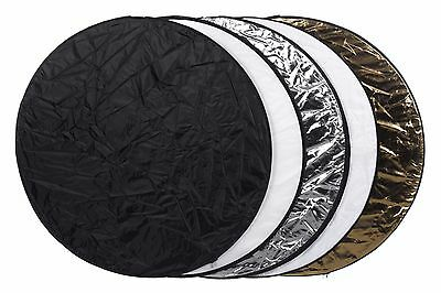 Reflector 5 in1 Multi 107cm Collapsible 5 Colors Wht Gld Blk Silv, Trans