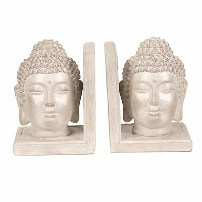 2 Set Cream Home Decor Gift Buddha Stone Vintage Effect Ceramic Bookends 17247