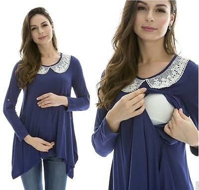 Breastfeeding Nursing Blue Top Tunic Dress Maternity Clothes Wear 10 12 14 16