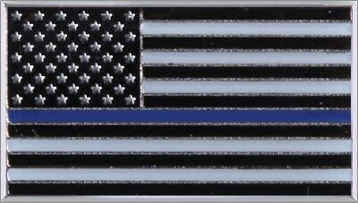 "Thin Blue Line US Flag Lapel Pin Law Enforcement Support the Police 3/4"" x 7/16"""