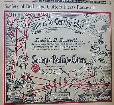DR. SEUSS FRANKLIN D ROOSEVELT FDR August 1942 PM SOCIETY OF RED TAPE CUTTERS