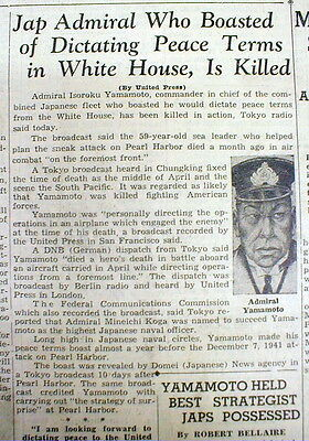 1943 newspaper WWII Japanese ADMIRAL YAMAMOTO KILLED Planned PEARL HARBOR ATTACK