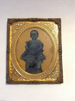 Relievo Ambrotype of Child Girl in Dress 1850's Mounted in Gold Frame Antique