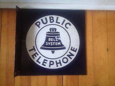 "Vintage PORCELAIN Bell System Public Telephone Flange Double Sided Sign 11"" x 11"