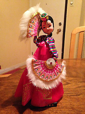 * Vintage Oriental Chinese Woman Doll 11' With Fans Figurine Collection *