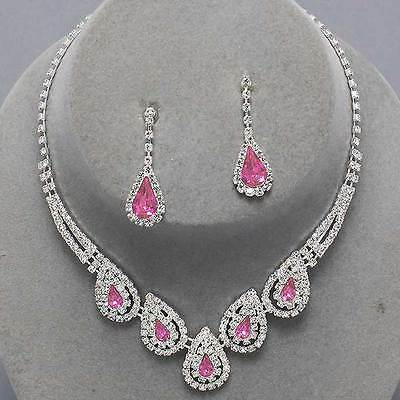 Pink teardrop clear diamante necklace set prom bridal party jewellery 0186