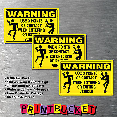 Warning Use 3 Points of Contact sticker 3 Pack oh&s safety compliant