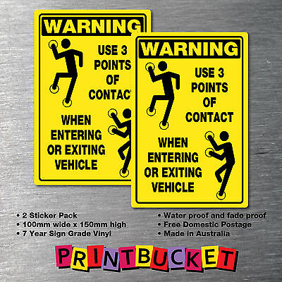 Warning Use 3 Points Of Contact Sticker large 2 pack warning oh&s