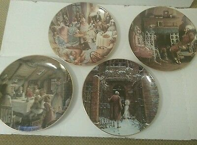 Set of 4 Department 56 Christmas Carol Collectors Plates 1991-1994 Dickens