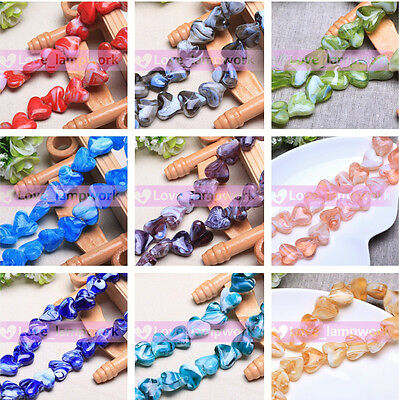 2/10Pcs 18x15mm Heart Shape Lampwork Glass Loose Spacer Beads Jewelry Making