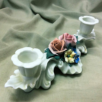 Antique Karl ENS POTTERY GERMAN Double Candlebra Holder Roses and Flowers