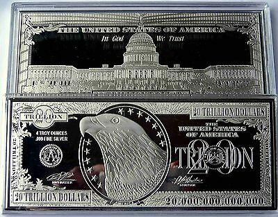 DISCOUNTED $20 TRILLION PROOF 4oz SILVER CURRENCY BAR IN HARD CASE + COA GRADE B