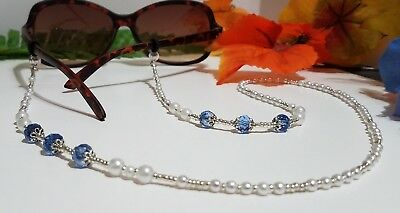 Classic Pearl Beaded Eyeglass Chain Sky Blue Crystals Silver F