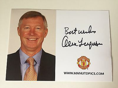 RARE Alex Ferguson Manchester United Signed Club Card + COA AUTOGRAPH