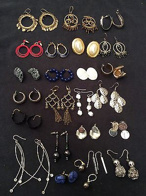 Jewelry Lot Of 25 Pcs Earrings Mixed Gold Silver Dangly Vintage 1980's