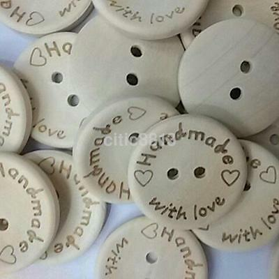 100 PCS 15/20/25mm Handmade Wood Wooden Sewing Buttons Crafts Scrapbooking AU