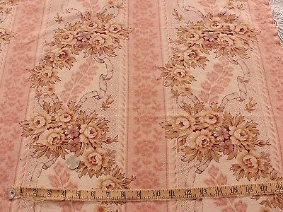 Antique French Yellow Roses & Ribbons Pale Pink Barkcloth Fabric Yardage c1900