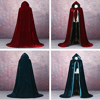Gothic Hooded Velvet Cloak Gothic Wicca Robe Medieval Witchcraft Larp Cape