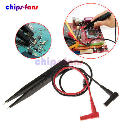 SMT SMD Chip Test Clip Meter Lead Probe Multimeter Tweezer Capacitor Resistance