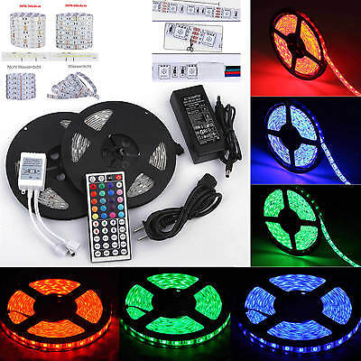 1-30M LED 5050 SMD RGB Strip Light Flexible Lighting 12V IR Controller Adapter