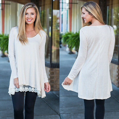 New Fashion Women Lady Loose Long Sleeve Tops Casual Lace Party Short Mini Dress