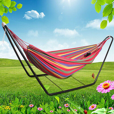 Swinging Double Hammock With Frame Stand Couples Hammock Outdoor Camping Swing