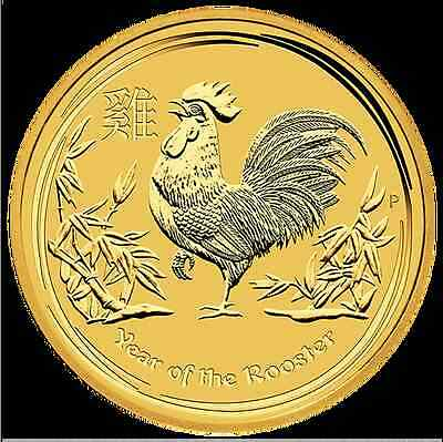 2017 Perth Mint Gold 1/20 oz Lunar Rooster Bullion Coin