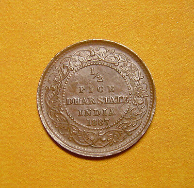 India Dhar 1/2 Pice 1887 Copper Xf