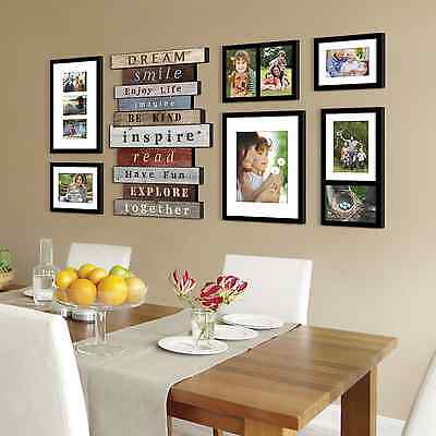 7 piece inspirational words photo picture frame collage set black wall art decor